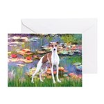 Lilies2/Italian Greyhound Greeting Card