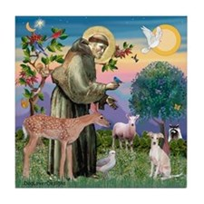 St Francis / Ital Greyhound Tile Coaster