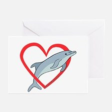 Dolphin Heart Greeting Cards (Pk of 10)