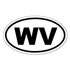 WV West Virginia Euro Oval Bumper Stickers