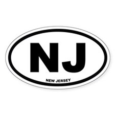 NJ New Jersey Euro Oval Decal