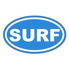 SURF Surfing Blue Euro Oval Decal