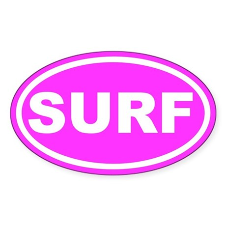 SURF Pink Euro Oval Sticker