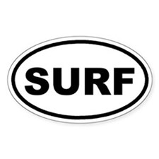 SURF Surfing Euro Oval Decal