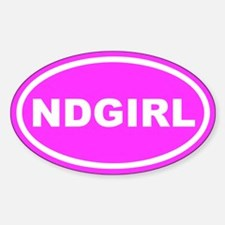 ND GIRL North Dakota Pink Euro Oval Decal