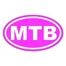 MTB Mountain Biking Pink Euro Oval Stickers