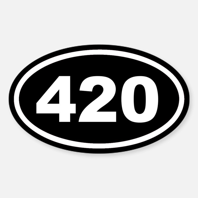 420 Black Euro Oval Decal