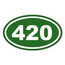 420 Green Euro Oval Decal