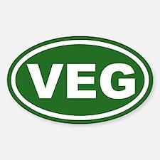 VEG Vegan Green Euro Oval Decal