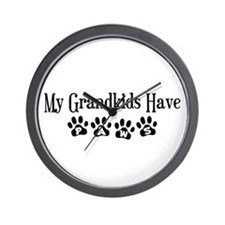 My Grandkids Have Paws Wall Clock