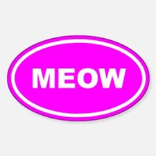 MEOW Kitty Cat Pink Euro Oval Decal