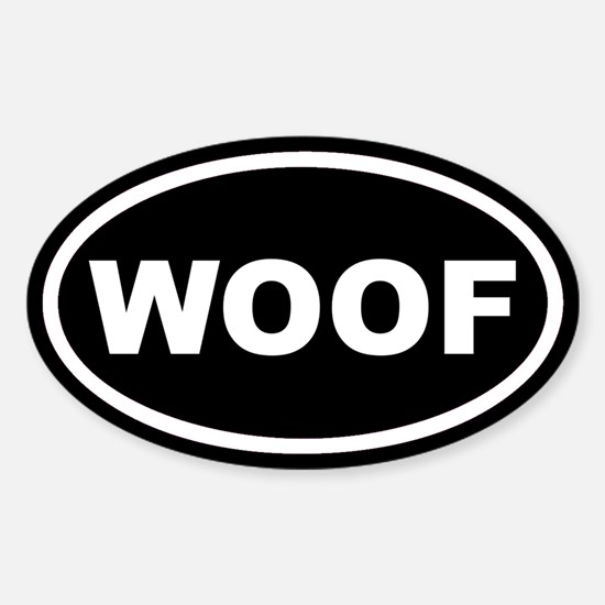 WOOF Black Euro Oval Decal