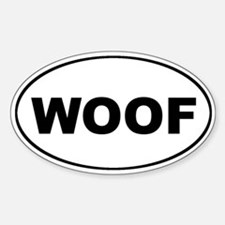 WOOF Dog Euro Oval Decal