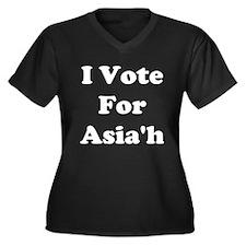 I Vote For Asia'h Women's Plus Size V-Neck Dark T-