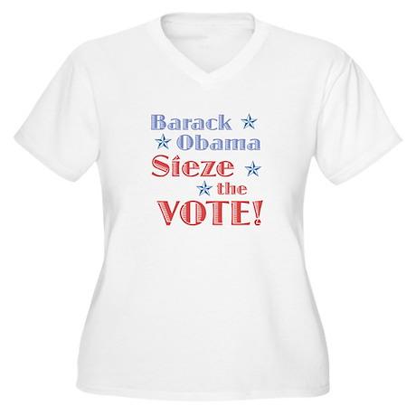 Obama Sieze the Vote Women's Plus Size V-Neck T-Sh