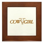 Cowgirl Cow Skull Framed Tile