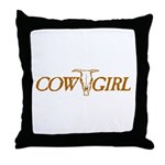 Cowgirl Cow Skull Throw Pillow
