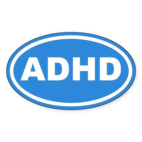 ADHD Blue Euro Oval Sticker