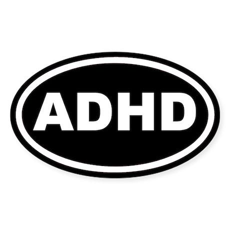 ADHD Black Euro Oval Sticker