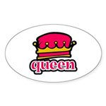 Funky Queen Crown Oval Sticker