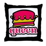 Funky Queen Crown Throw Pillow