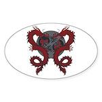 Double Dragon Oval Sticker