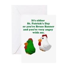 St Patrick's Day Chicken Greeting Card