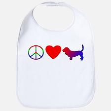 Peace, Love, Basset Hound Bib