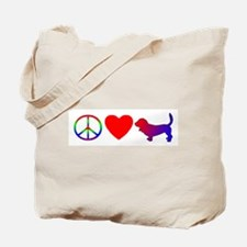 Peace, Love, Basset Hound Tote Bag