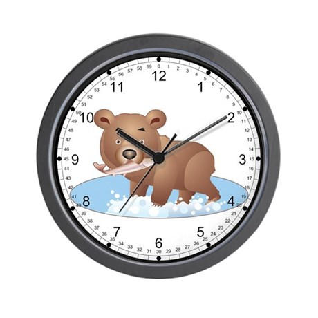 Bear with fish wall clock by animalflare for Fish wall clock