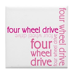 Pink Four Wheel Drive Girl Tile Coaster