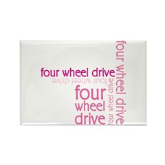 Pink Four Wheel Drive Girl Rectangle Magnet (100 p