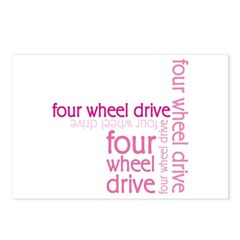 Pink Four Wheel Drive Girl Postcards (Package of 8