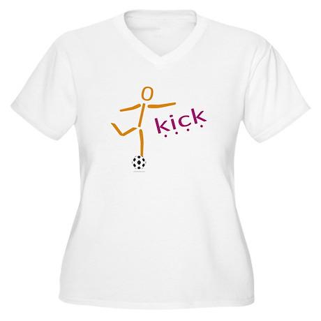 Soccer Women's Plus Size V-Neck T-Shirt