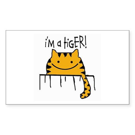 "HAPPY CAT ""I'M A TIGER!"" Rectangle Sticker"