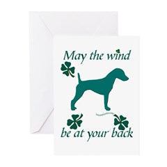 Smooth Terrier and Shamrocks Greeting Cards (Pk of