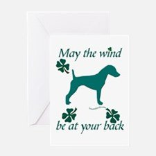 Smooth Terrier and Shamrocks Greeting Card
