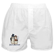 Penguin Wedding - Just Married Boxer Shorts
