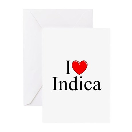 """I Love (Heart) Indica"" Greeting Cards (Pk of 10)"