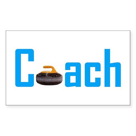 Curling Coach Light Blue Rectangle Sticker