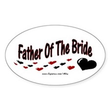 Father Of The Bride (hearts) Oval Decal