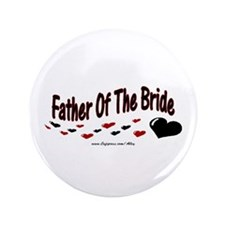 """Father Of The Bride (hearts) 3.5"""" Button"""