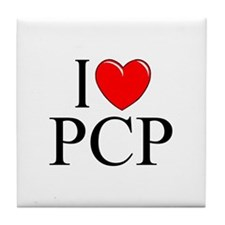 """I Love (Heart) PCP"" Tile Coaster"