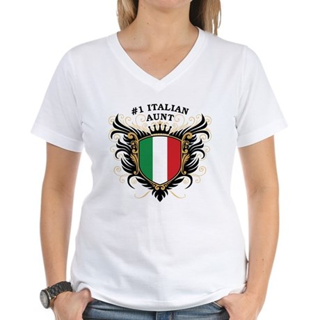 Number One Italian Aunt Women's V-Neck T-Shirt