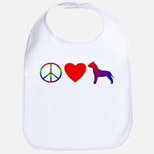 Peace Love Pit Bull Terrier Bib