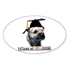 Border Terrier Grad 08 Oval Decal