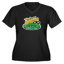 Lawn Ranger Women's Plus Size V-Neck Dark T-Shirt
