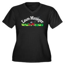 Lawn Manager Women's Plus Size V-Neck Dark T-Shirt