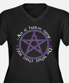 Wiccan Rede Pentacle Women's Plus Size V-Neck Dark