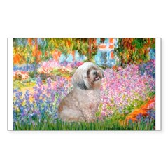 Garden / Lhasa Apso Sticker (Rectangle)